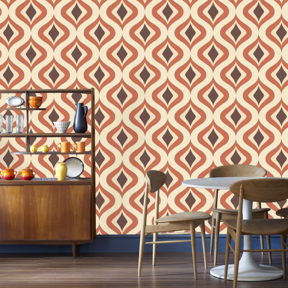 Graham and Brown Retro Waves Orange 15195 Wallpaper